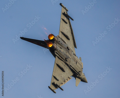 fototapeta na ścianę Eurofighter Typhoon British air forces during aerobatic training before aviation shows in Radom