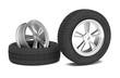 Leinwandbild Motiv Car alloy wheel and tyre on white background. 3d render illustration