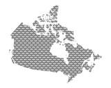 Karte von Kanada auf grobem Gewebe
