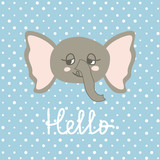 Cute Happy Elephant cartoon on polka pots background.