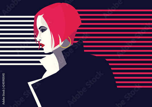 Fashion woman in style pop art. Vector illustration © Yevhen