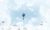 Flying hot air balloon in the air. - 245911730