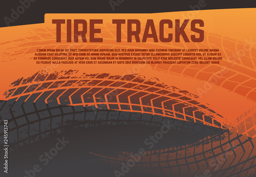 Tire tread tracks background. Grunge racing tire road marks. Abstract motorcycle rally vector poster. Illustration of tire track, trace dirty imprint grunge
