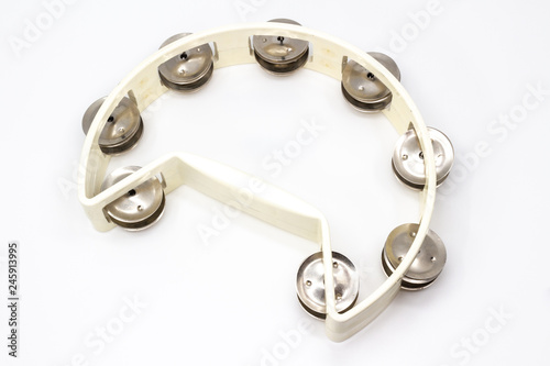 Musical instrument - plastic tambourine with double row jingles - 245913995