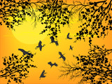 black blossoming branches and flying cranes at yellow sunset
