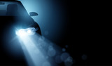 Modern Driving Car LED Headlights Background