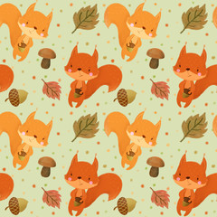 Seamless pattern with squirrels on navy background