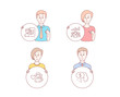 People hand drawn style. Set of Job interview, Teamwork results and Man love icons. Pay sign. Cv file, Group work, Romantic people. Beggar.  Character hold circle button. Man with like hand. Vector