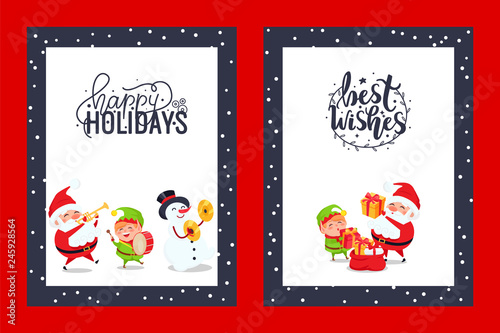 6d3e8ecc Happy holidays congratulation festive cards with Best Wishes. Vector  characters of Snowman, Elf and