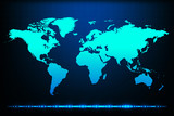 World map with abstract blue background