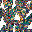 Seamless pattern of Tropical palms leaves