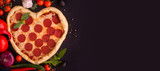 Pizza heart shaped with pepperoni - 245943737