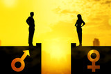 Silhouette of businessman and businesswoman standing on the rooftop with same height - 245945377