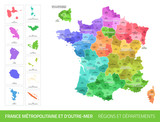 Carte des Départements et des Régions de France - 245946300