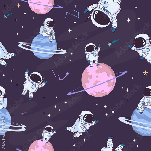 fototapeta na ścianę Sweet space seamless pattern with fantasy chocolate cookie, candy, donut, caramel sweets planets and astronaut. Editable vector illustration