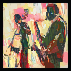 Jazz  with saxophone and double-bass © Isaxar