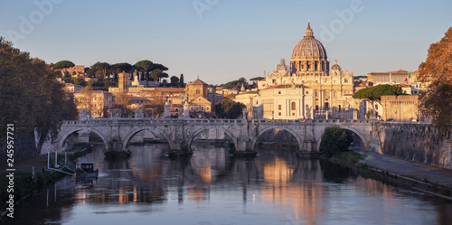 Tiber and St Peter Basilica in Vatican, sunrise time - 245957721
