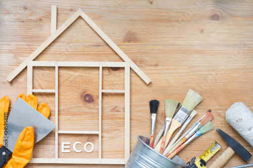 Home renovation construction abstract background with tools on wooden boards top view  and free place - 245958911
