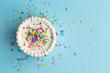 Leinwanddruck Bild - Colorful birthday cake top view