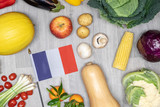 Healthy eating in France with the national flag. - 245969334
