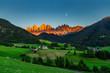 Leinwanddruck Bild - Iconic Dolomites  mountain landscape in Santa Maddalena, Funes valley, Italy.