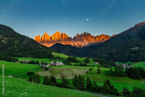Leinwanddruck Bild Iconic Dolomites  mountain landscape in Santa Maddalena, Funes valley, Italy.