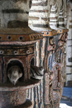 "Постер, картина, фотообои ""Cosse-Le-Vivien city, Mayenne, France - August 8, 2018: Robert Tatin Museum in France, modern art, inside the temple."""
