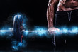 Leinwanddruck Bild - Closeup photo of strong muscular bodybuilder athletic man pumping up muscles with barbell on black background. Workout energy bodybuilding concept. Copy space for sport nutrition ads.