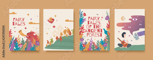 Set of illustrations for the book of fairy tales about the ancient forest. - 245986104