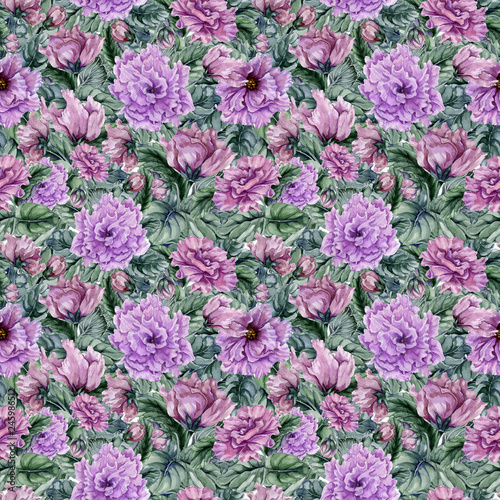Beautiful floral background with purple viola flowers and leaves. Seamless botanical pattern.  Watercolor painting. Hand painted illustration © katiko2016