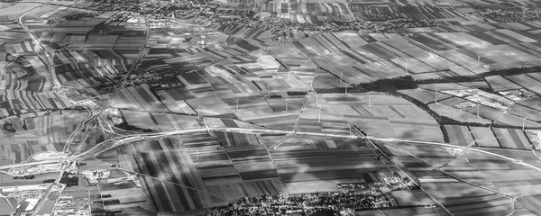 rural landscape near Vienna with wing generators