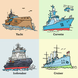 Vector illustration of doodle ships. Coloring book with boats. Yacht, icebreaker, corvette and cruiser Aurora.
