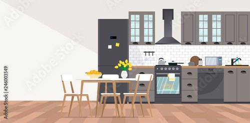 Vector Banner With Kitchen Interior In Flat Style Buy Photos Ap