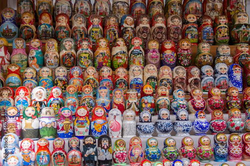 Moscow, June 08, 2018. Central market.Background of colorful Russian dolls on the market.Russian traditional Matryoshka souvenirs at the fair © Светлана Лазаренко