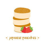 Cute vector cartoon illustration of fluffy japanese pancakes with powdered sugar and fresh strawberry. - 246007372