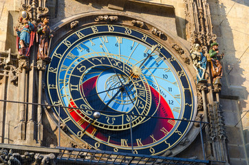 Prague Astronomical Clock, or Orloj on Old Town Hall in Prague, Czech Republic