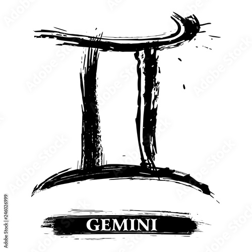 Zodiac sign Gemini created in grunge style © oxygen64