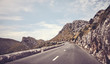 Scenic mountain road, color toning applied, Mallorca, Spain.