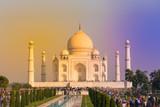 Taj Mahal, scenic sunset with colorful sky, Agra, India
