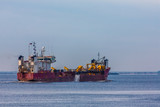 Dredging Ship in Harbor - 246042504