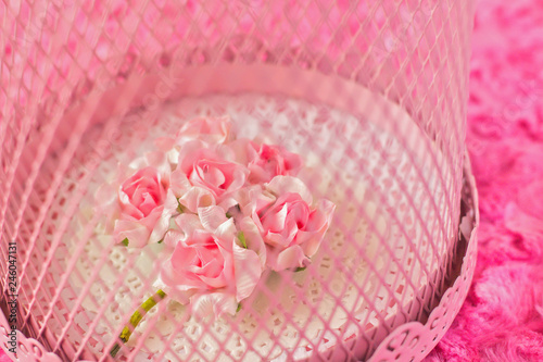 bouquet of paper flowers in romantic cage - closeup - 246047131
