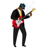 Jazz guitarist in hat with musical instrument. Vector jazz concert, instrument music guitarist illustration