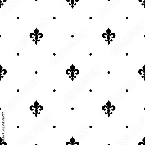 Fleur de lis seamless pattern. Vector background