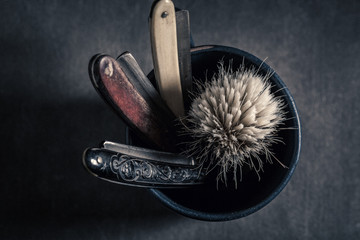 Antique shaving set with soap, brush and old razor