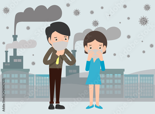 People in masks because of fine dust, man and woman wearing mask against smog. Fine dust, air pollution, industrial smog protection concept flat style design vector illustration.