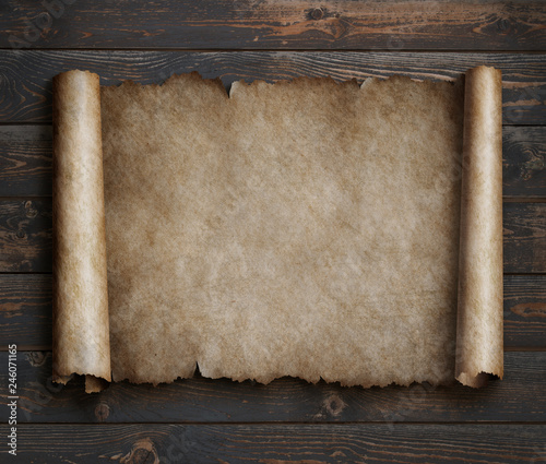 parchment on wood table 3d illustration