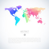 Vector colorful global world map with modern triangle pattern. Infographic template on isolate white background