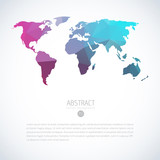 Cool vector global world map with modern triangle pattern. Iinfographics template on isolated white background