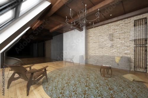 Wohnzimmer in der Mansarde (Projektierung)