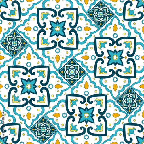 Portuguese tile pattern seamless vector with floral ornament motifs. Portugal azulejos, mexican talavera, italian sicily majolica, spanish ceramic. Mosaic texture for kitchen wall or bathroom floor.